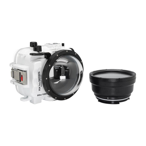 "60M/195FT Waterproof housing for Sony RX1xx series Salted Line with 4"" Dry Dome Port (White) - A6XXX SALTED LINE"
