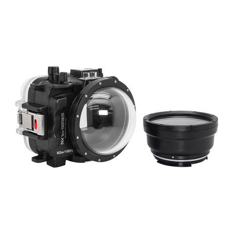"60M/195FT Waterproof housing for Sony RX1xx series Salted Line with 4"" Dry Dome Port (Black) - A6XXX SALTED LINE"