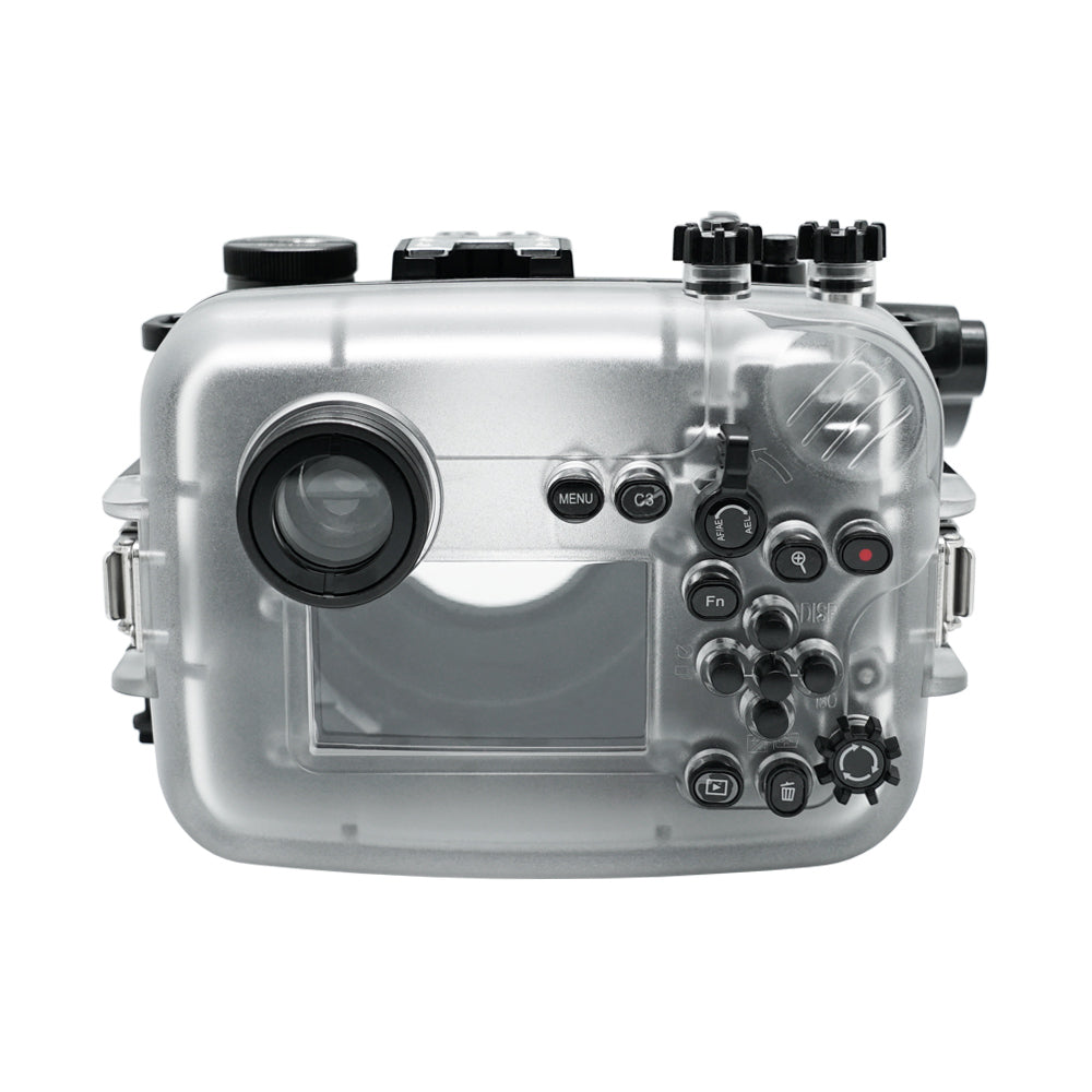 Sony A6600 40M/130FT Underwater camera housing with 67mm threaded Flat Long port. Focus gear for Sony FE 90mm included
