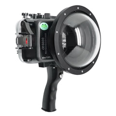 "Sony A6600 SeaFrogs 40M/130FT UW housing with 6"" Dry Dome Port for E10-18mm lens (zoom gear included), Standard port for E16-50mm (zoom gear included) and with Pistol Grip. Surf"