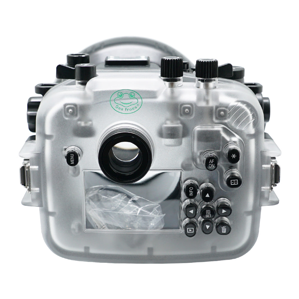 SeaFrogs 40m/130ft Underwater camera housing for Canon EOS RP with Flat Long Port
