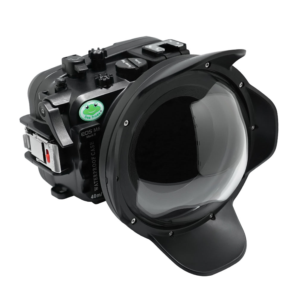 "Canon EOS M6 Mark II 40m/130ft Sea Frogs Underwater Camera Housing with 18-55mm/11-22mm flat port & 6"" Dry Dome Port"