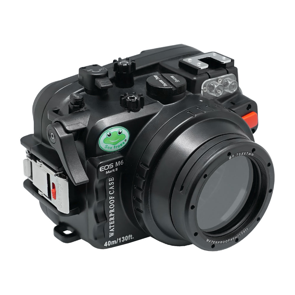Canon EOS M6 Mark II (28mm & 32mm) 40m/130ft Sea Frogs UW Camera Housing with 67mm threaded flat short port