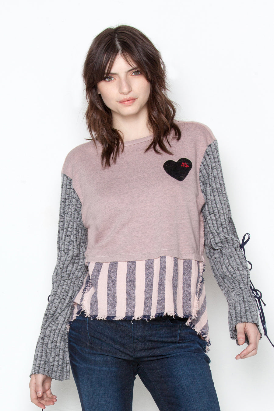 Faux Cropped Sweater in Rosy