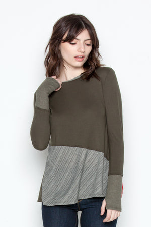 Peek-A-Boo Blouse in Military