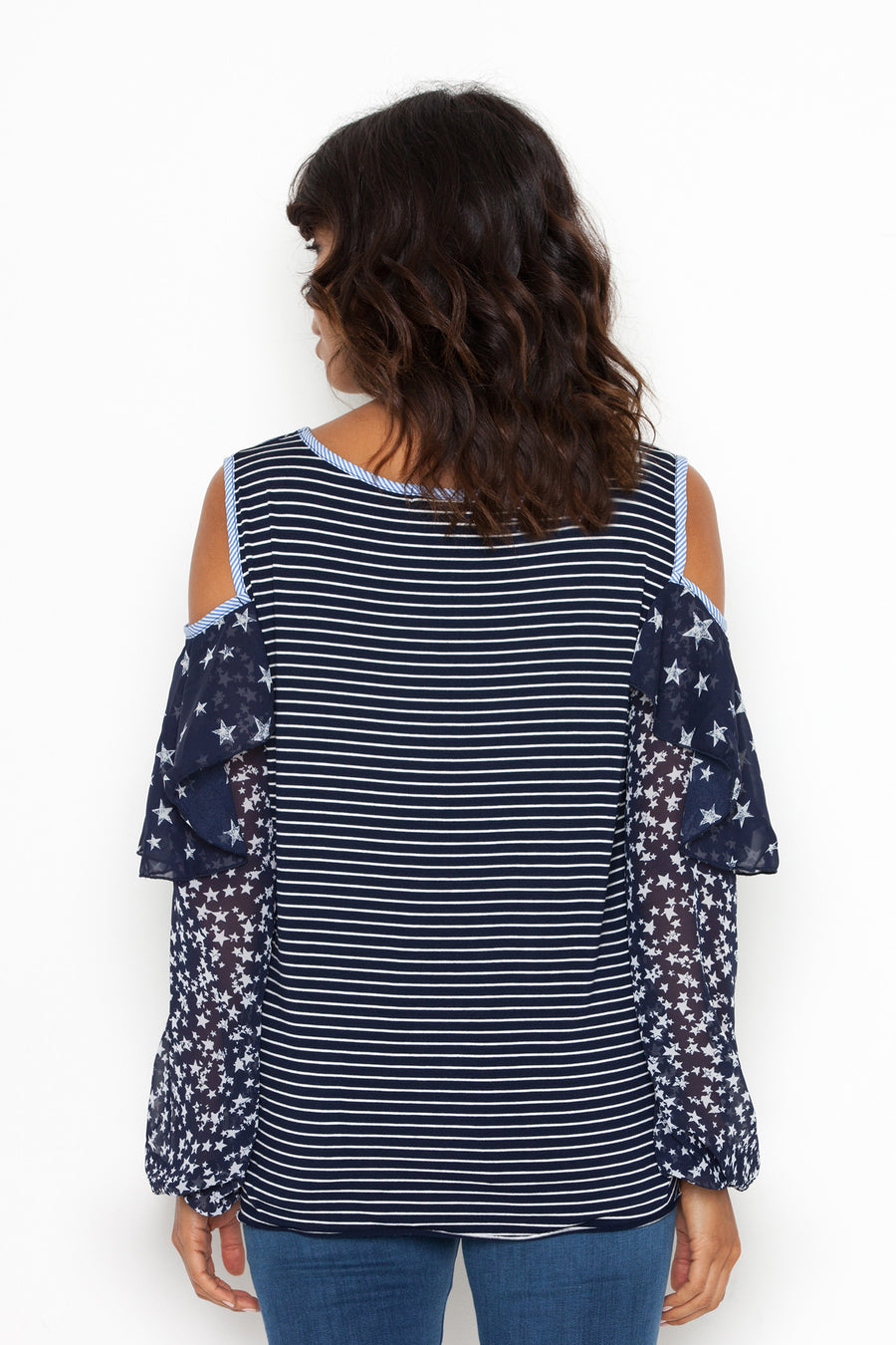 June Blouse in Navy/Off White