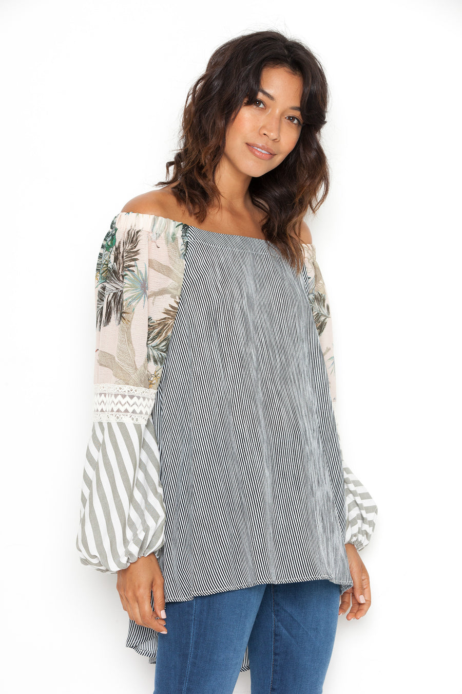 Off Shoulder Tunic in White/Black