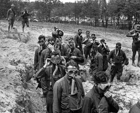 22 April Ypres, Belgium, Germans using Chlorine gas
