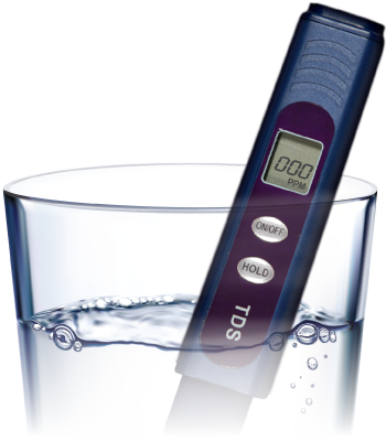 TDS reader in glass of water