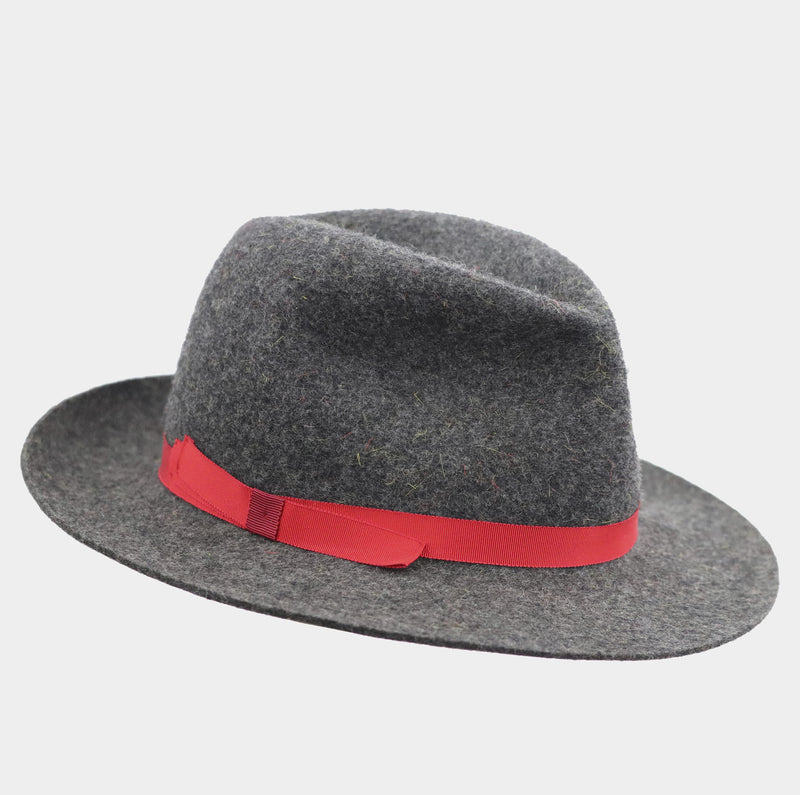 Mixed Wool Winter Trilby - Bight Red