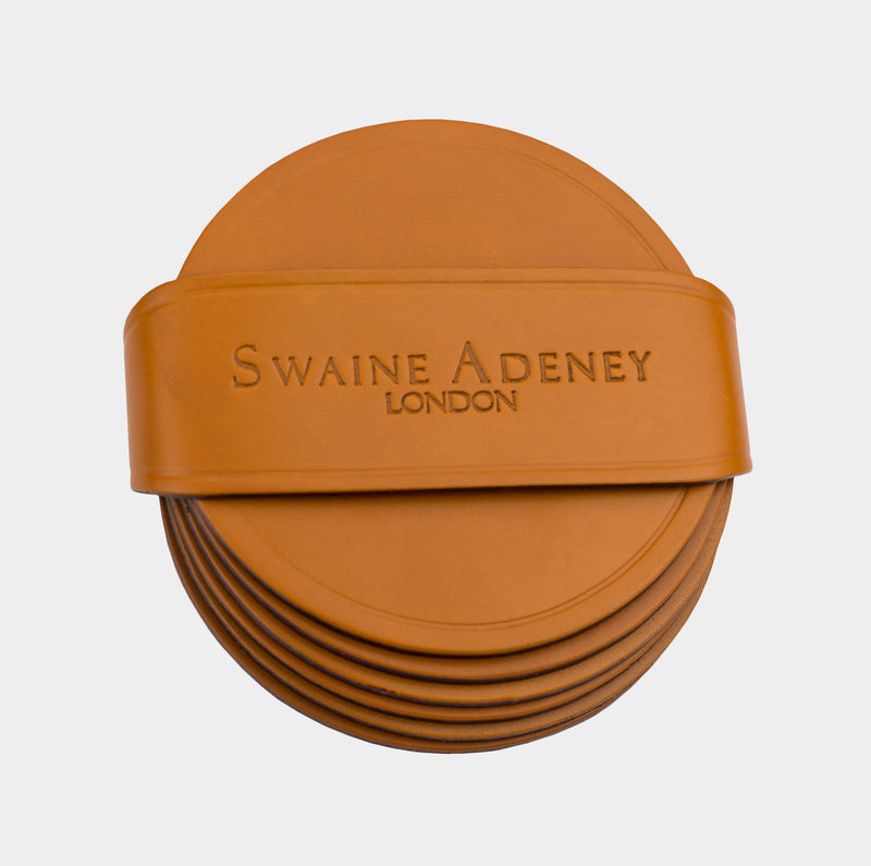 Swaine Adeney Brigg Round Coasters - London Tan