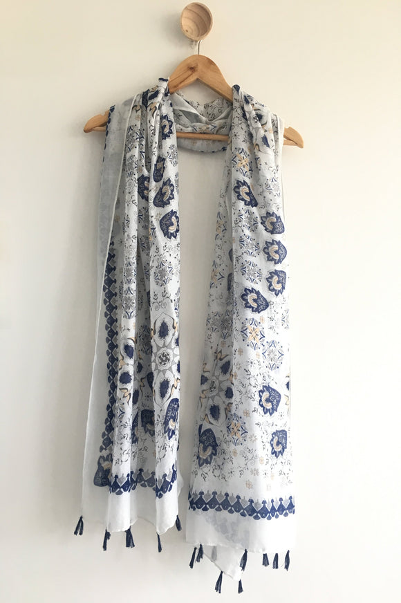 Blue Floral Summer Scarf