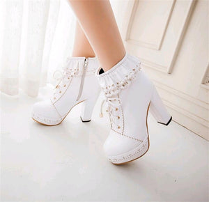 Lace-Up High Heel Boots