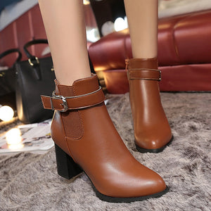 High-Heeled Martin Tide With Solid Round Casual Short Boots Shoes