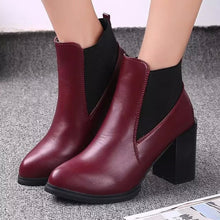 Load image into Gallery viewer, High-Heeled Martin Tide With Solid Round Casual Short Boots Shoes