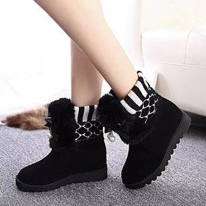 The Snow Girls Flats Height Increasing Bow Students Shoes Wool Short Boots