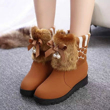 Load image into Gallery viewer, The Snow Girls Flats Height Increasing Bow Students Shoes Wool Short Boots
