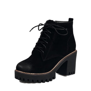 Collegiate Lace-Up Shoes Ankle Boots Round Toe High Block Heel Platform