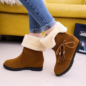 Warm Hidden Heel Snow Lined Suede Ankle Boots