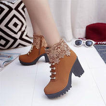 Load image into Gallery viewer, Shoes Side Zipper Lace Martin Boots