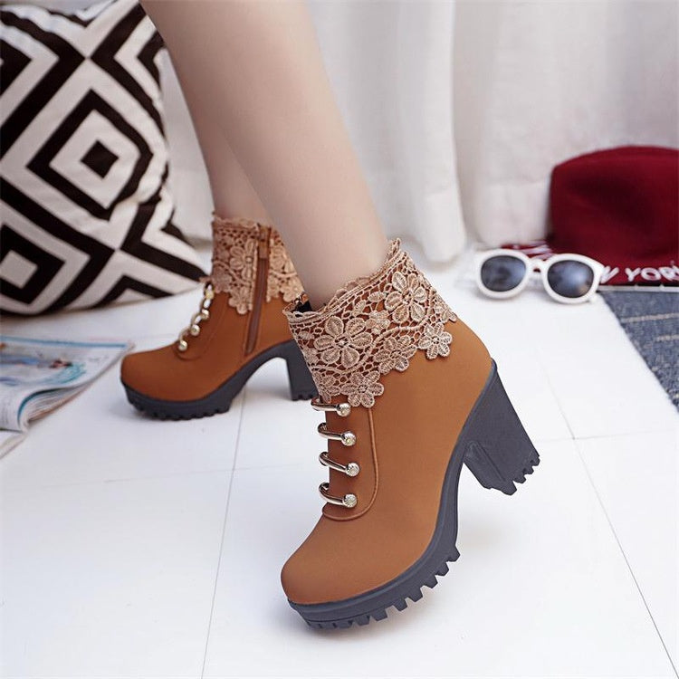Shoes Side Zipper Lace Martin Boots