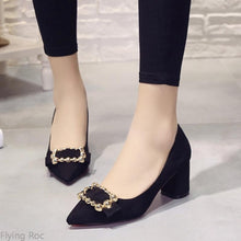 Load image into Gallery viewer, Thick Heel Pointed Pumps Rhinestone Wedding Sexy Shoes