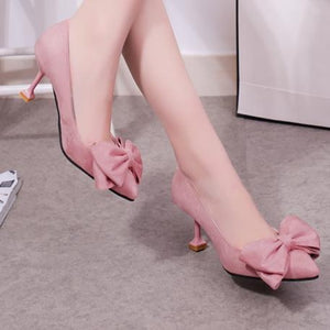 Inches Velvet Bowknot Pointed Toe Pump Stiletto Heel Shoes