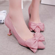 Load image into Gallery viewer, Inches Velvet Bowknot Pointed Toe Pump Stiletto Heel Shoes