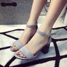 Load image into Gallery viewer, Simple Open Toe Thick Heel Sandals