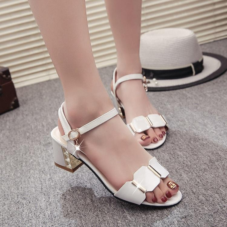 Casual Thick Heels Pendant Rhinestone Sandals Beach Shoes Non Slip Peep Toe Breathable