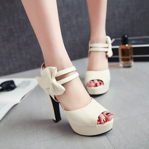 Quality Sexy Nightclubs Open Toe High-Heeled Thick Heel Sandals Sweet Bow Shoes
