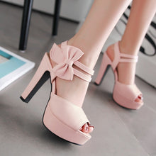 Load image into Gallery viewer, Quality Sexy Nightclubs Open Toe High-Heeled Thick Heel Sandals Sweet Bow Shoes