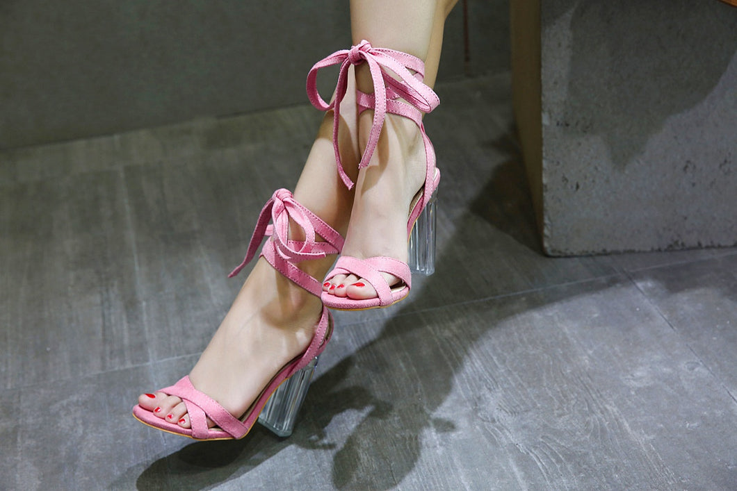 The United States Contracted High Heels Bracelet Strap Transparent Thick Sandals With Big Yards