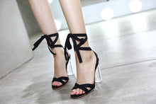 Load image into Gallery viewer, The United States Contracted High Heels Bracelet Strap Transparent Thick Sandals With Big Yards