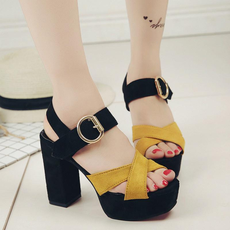 Matching Buckles Thick Peep-Toe Waterproof Taiwan Show Tall With Sandals