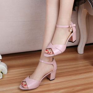 Fish Mouth Middle Heel Sandals