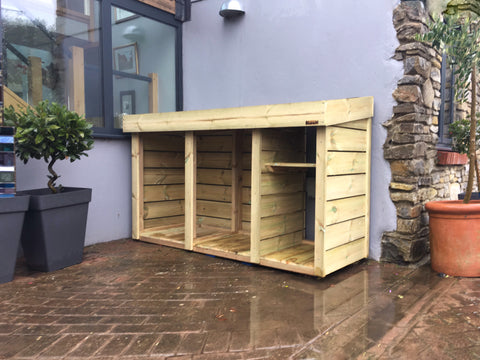 Bespoke log wellies kindling storage with growing green roof planter