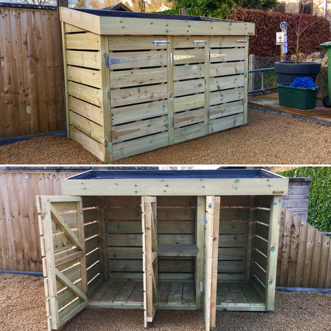 Bespoke wheelie bin and recycling storage tidy unit with growing green roof