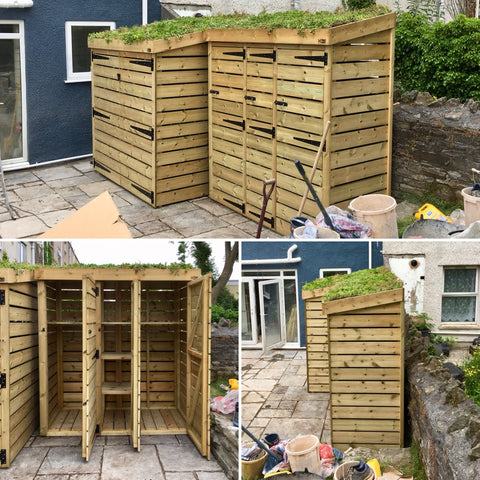 Matching bin storage and bike storage units in Swansea. Both have a living green sedum roof, and are made from pressure treated wood for a long life