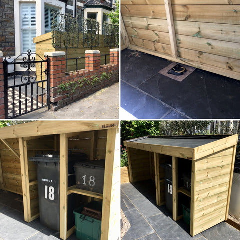Custom made bike and bin shelter in a newly refurbished Victorian front garden. Bristol
