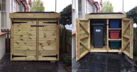 Custom made wheelie bin and recycling storage shed in Chiswick, West London