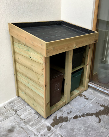 Custom made recycling storage unit in a Bristol courtyard garden