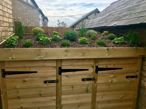 Bespoke storage for two wheelie bins, three recycling boxes and a living roof filled with alpines, strawberries and herbs