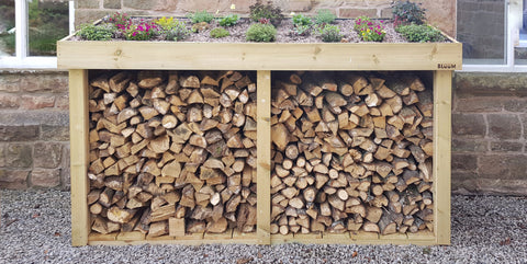 Bespoke Log Firewood Storage Box With Living Green Roof Plant Area