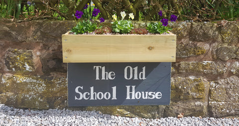 Planter tailor made for a slate house sign
