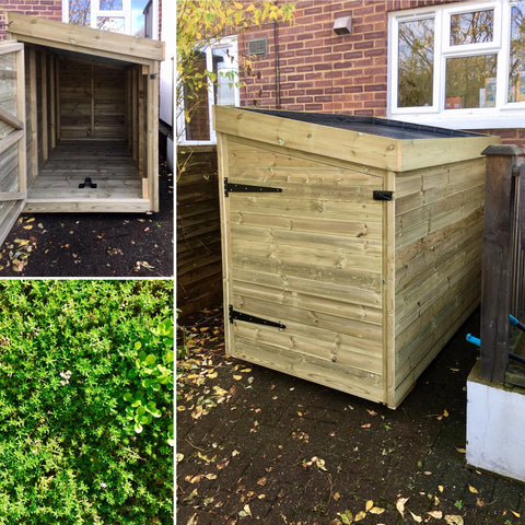 Side entry bike shed / cycle storage with living green roof planter