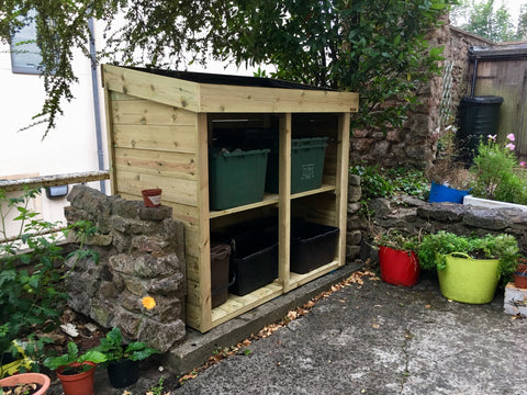 Recycling store in Clifton, Bristol. Living green roof planter will be filled with plants.