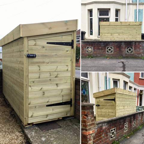 Bike shed with side door and green roof for sedum