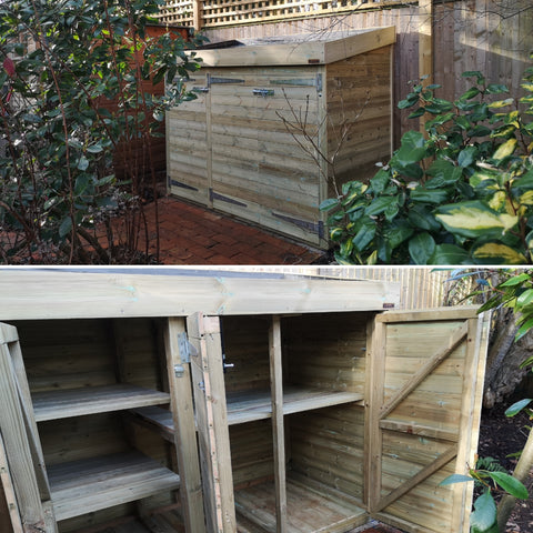 Tailor made shed with storage shelving, and green roof planter for succulents