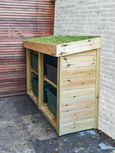 Garden store for four recycling boxes, with green roof planting area suited to sedum